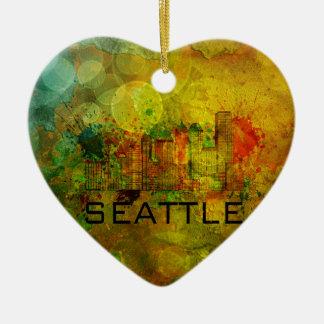 Horizonte de la ciudad de Seattle en el fondo Adorno Navideño De Cerámica En Forma De Corazón