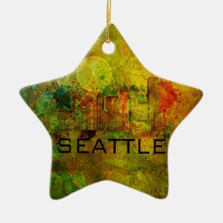 Horizonte de la ciudad de Seattle en el fondo Adorno Navideño De Cerámica En Forma De Estrella