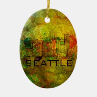 Horizonte de la ciudad de Seattle en el fondo Adorno Navideño Ovalado De Cerámica