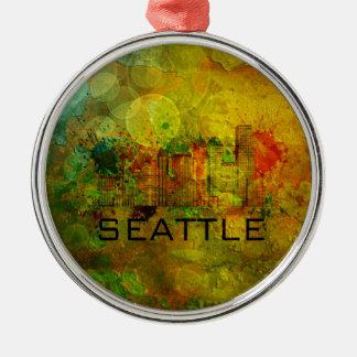 Horizonte de la ciudad de Seattle en el fondo Adorno Navideño Redondo De Metal