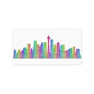 Horizonte de la ciudad de Seattle Etiqueta De Dirección