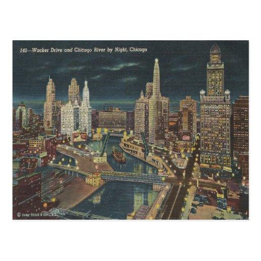 Horizonte de la noche de Chicago del vintage Postal