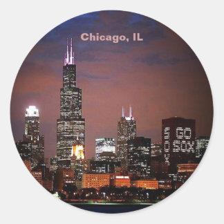 Horizonte de la noche de Chicago, IL Pegatina Redonda