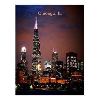 Horizonte de la noche de Chicago, IL Postal