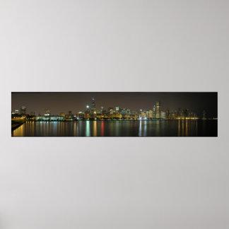 Horizonte de la noche de Chicago Poster