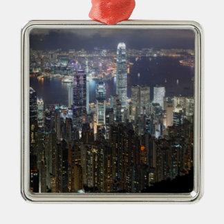 Horizonte de la noche de Hong Kong Adorno De Navidad