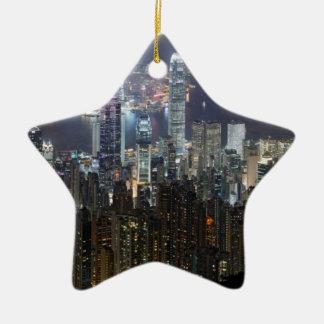 Horizonte de la noche de Hong Kong Ornamento Para Arbol De Navidad