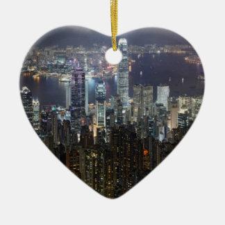 Horizonte de la noche de Hong Kong Adorno Para Reyes