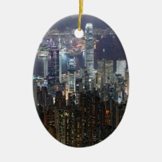 Horizonte de la noche de Hong Kong Ornamento De Reyes Magos