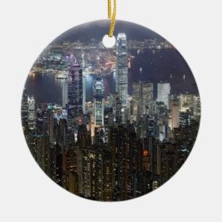 Horizonte de la noche de Hong Kong Ornamentos Para Reyes Magos