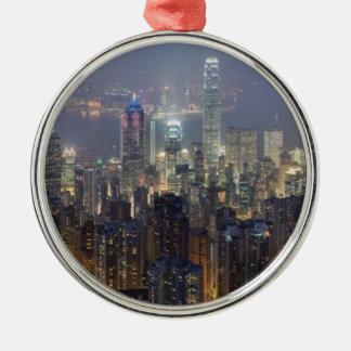 Horizonte de la noche de Hong Kong del pico de Adorno De Navidad