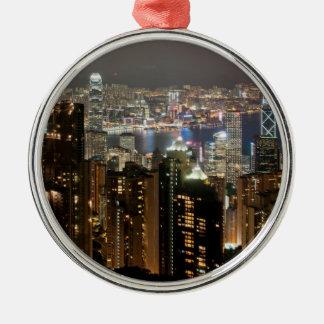 Horizonte de la noche de Hong Kong del pico de Adorno De Reyes