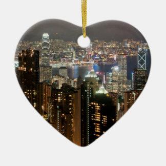 Horizonte de la noche de Hong Kong del pico de Adorno Para Reyes