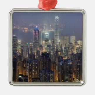 Horizonte de la noche de Hong Kong del pico de Ornamentos De Reyes Magos