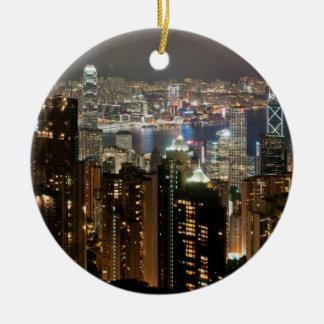 Horizonte de la noche de Hong Kong del pico de Ornamento Para Reyes Magos