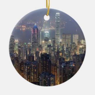 Horizonte de la noche de Hong Kong del pico de Ornaments Para Arbol De Navidad