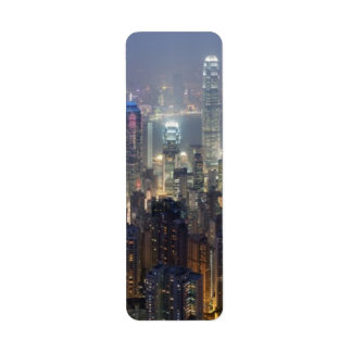 Horizonte de la noche de Hong Kong del pico de Vic Etiqueta De Remite