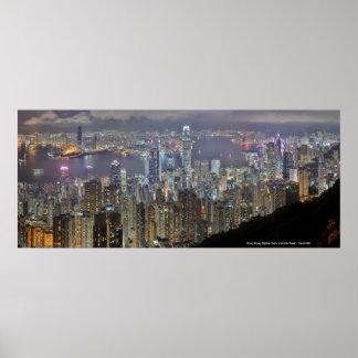 Horizonte de la noche de Hong Kong del pico de Vic Impresiones