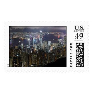 Horizonte de la noche de Hong Kong Sellos