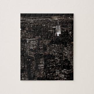 Horizonte de la noche de New York City de la sepia Puzzle