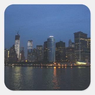Horizonte de la noche de New York City Manhattan Pegatinas Cuadradas