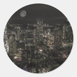 Horizonte de la noche de New York City Pegatina