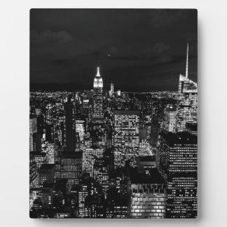 Horizonte de la noche de New York City Placa De Madera
