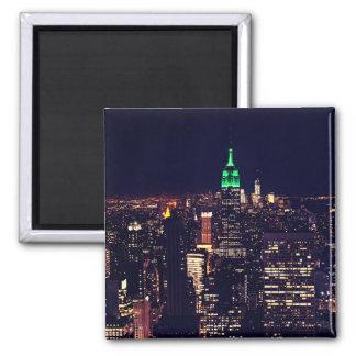 Horizonte de la noche de Nueva York Imán Cuadrado