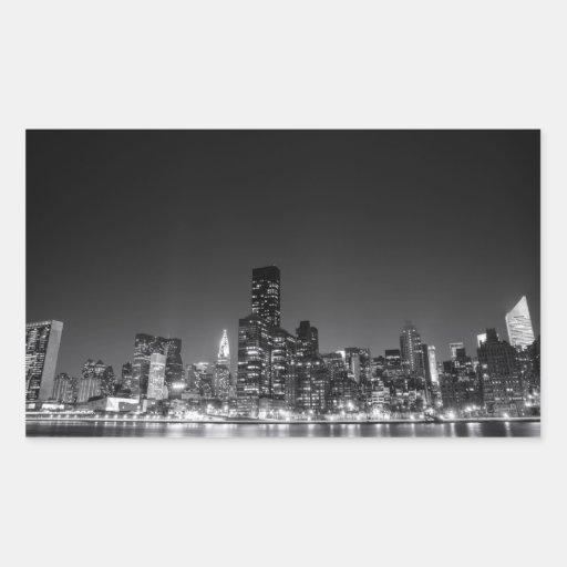 Horizonte de la noche de Nueva York Pegatina Rectangular