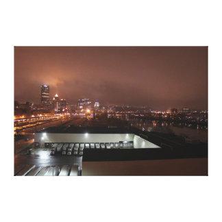 Horizonte de la noche de Pittsburgh Impresión En Lienzo Estirada