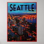 Horizonte de la noche de Seattle