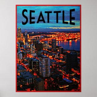 Horizonte de la noche de Seattle Impresiones