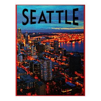 Horizonte de la noche de Seattle Postales