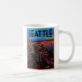 Horizonte de la noche de Seattle Taza