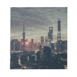 Horizonte de la noche de Shangai Bloc De Notas