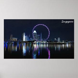 Horizonte de la noche de Singapur Póster