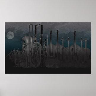 Horizonte de la noche del instrumento de la orques póster