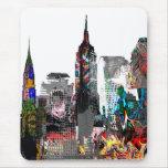 Horizonte de la pintada de Nueva York Tapete De Ratón