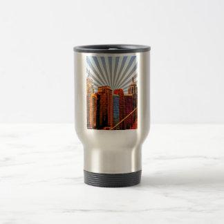 Horizonte de la salida del sol del arte pop tazas de café