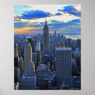 Horizonte de la última hora de la tarde NYC como Poster