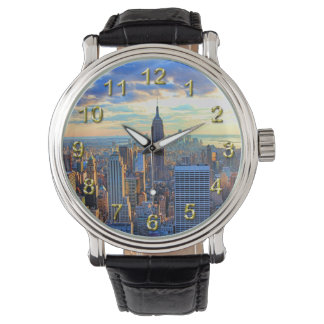Horizonte de la última hora de la tarde NYC como Reloj De Mano