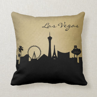 Horizonte de Las Vegas del negro y del Grunge Cojín