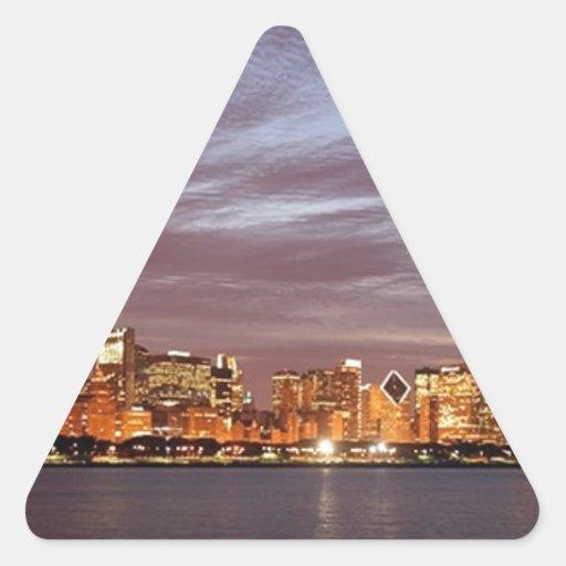 Horizonte de los E.E.U.U. Chicago (añada) (St.K) Pegatina Triangular