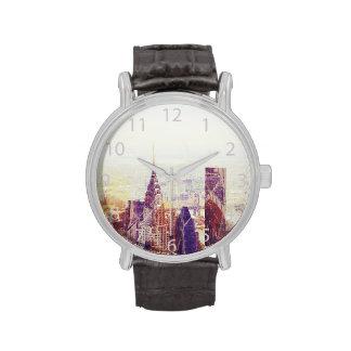 Horizonte de los rascacielos de Nueva York Relojes De Pulsera