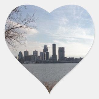 Horizonte de Louisville Pegatina En Forma De Corazón