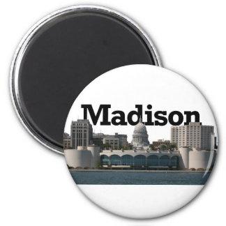 Horizonte de Madison Wisconsin con Madison en el c Imán Redondo 5 Cm