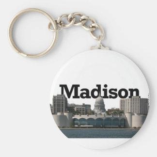 Horizonte de Madison Wisconsin con Madison en el c Llavero Redondo Tipo Pin