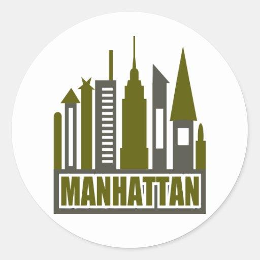 Horizonte de Manhattan con los recortes, el gris y Pegatina Redonda
