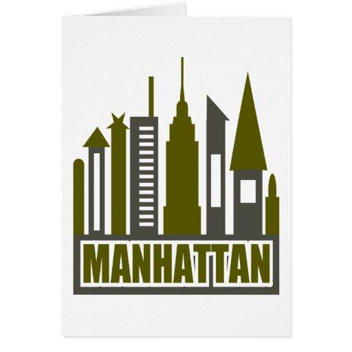 Horizonte de Manhattan con los recortes, el gris y Tarjetas