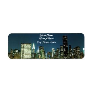 Horizonte de Manhattan en la noche, New York City Etiquetas De Remite